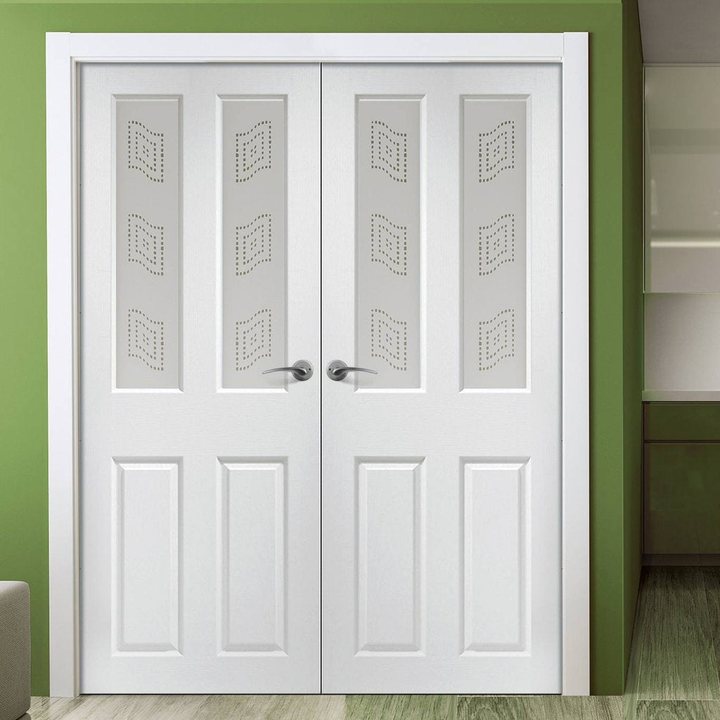 Grainger Internal PVC Door Pair with Mansfield Sandblasted Design Glass
