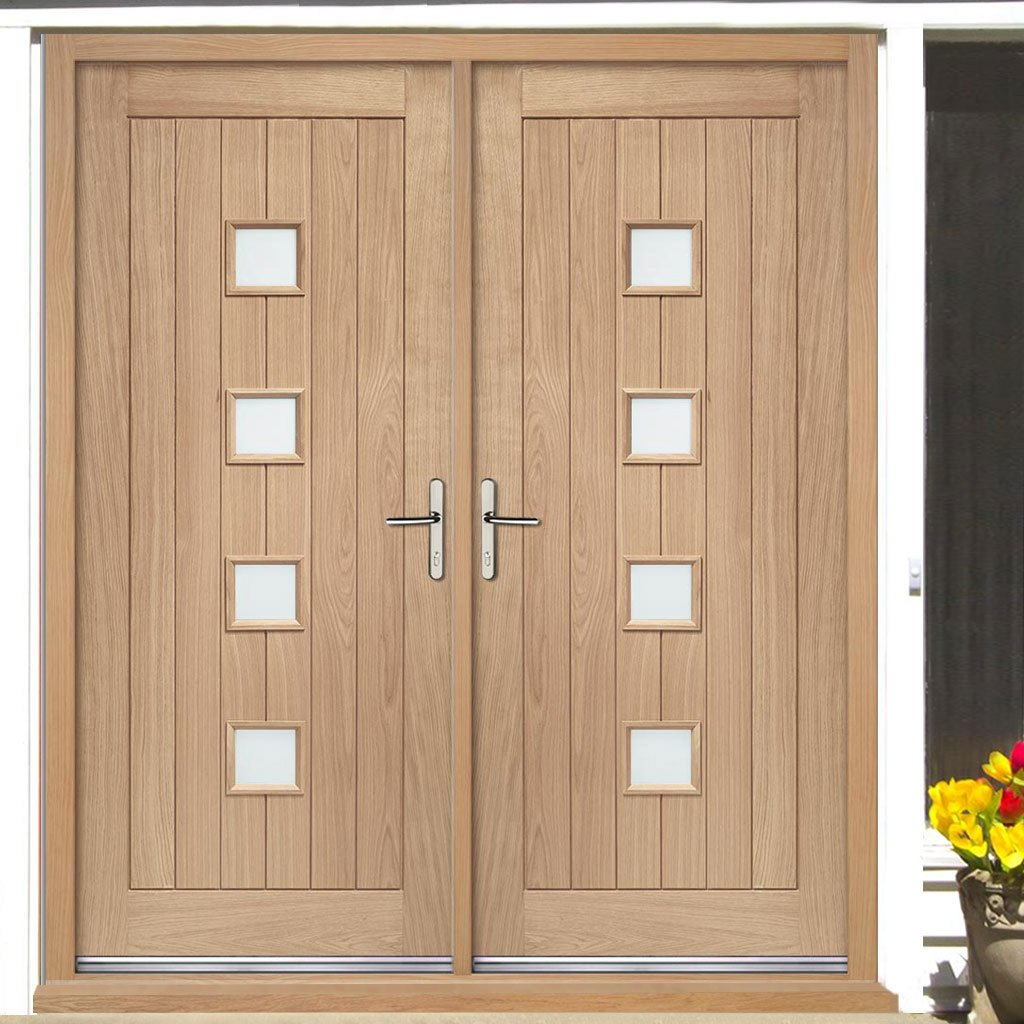 External Siena Oak Double Door and Frame Set - Frosted Double Glazing