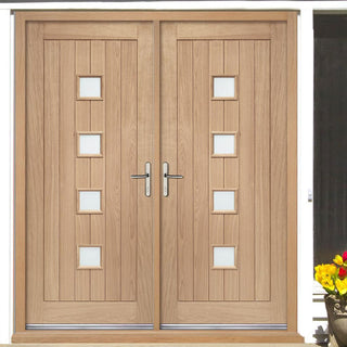 Image: External Siena Oak Double Door and Frame Set with Obscure Safety Double Glazing