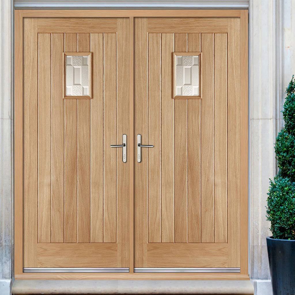 Suffolk Oak External Double Door and Frame Set - Frosted Double Glazing