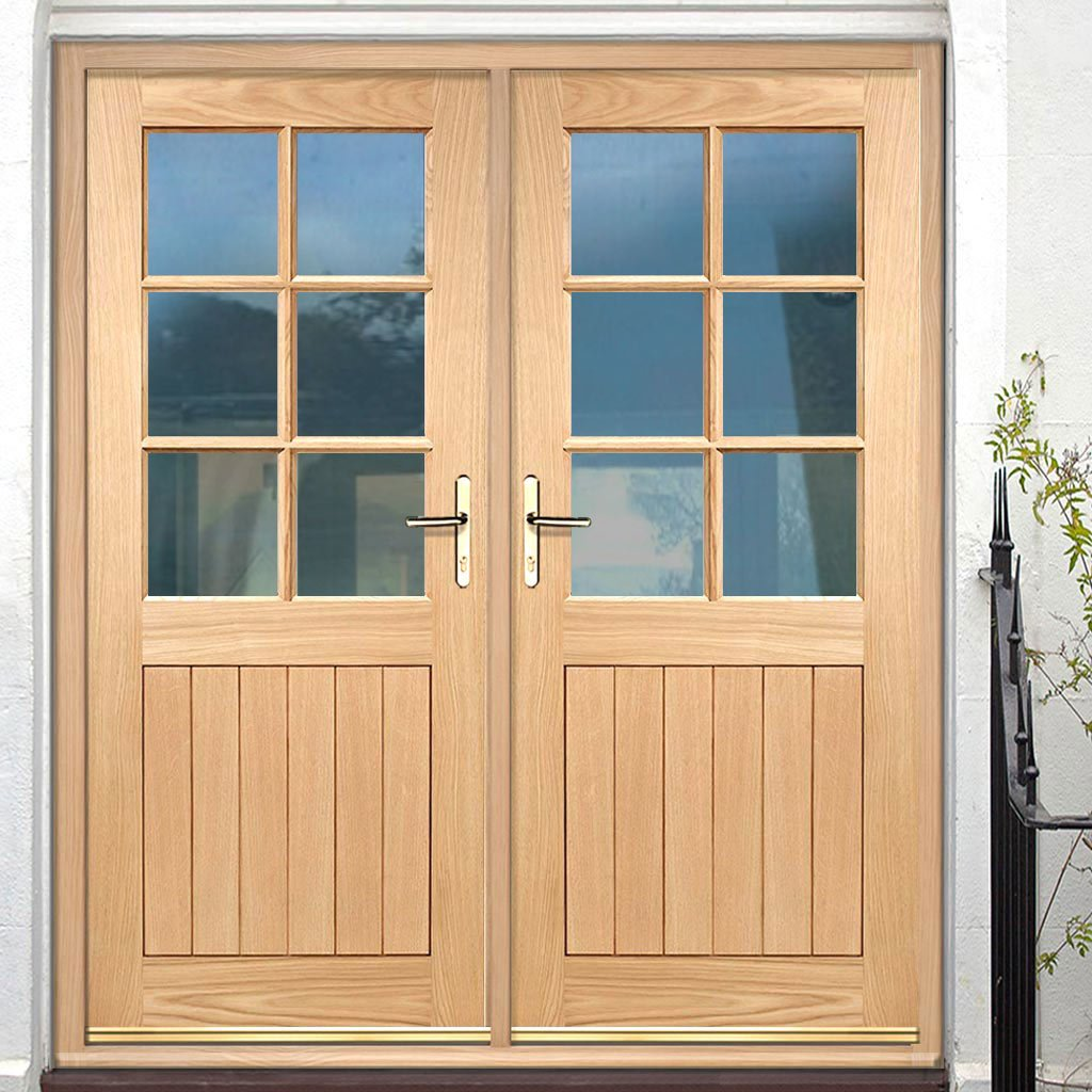 Cottage 6 Pane Oak Double Door and Frame Set - Clear Double Glazing