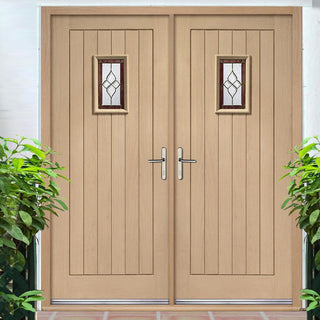 Image: Chancery Onyx External Oak Double Door and Frame Set with Bevelled style Tri Glazing