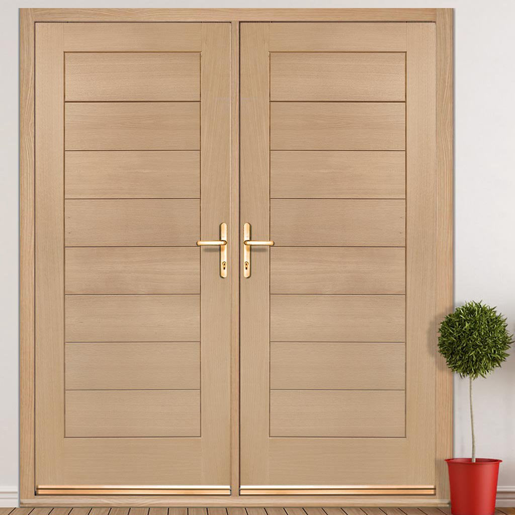 Modena External Oak Double Door and Frame Set