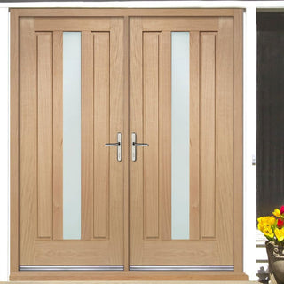 Image: Padova External Oak Double Door and Frame Set - Frosted Double Glazing