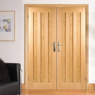 Image: LPD Joinery Idaho Oak 3 Panel Fire Door Pair - 30 Minute Fire Rated