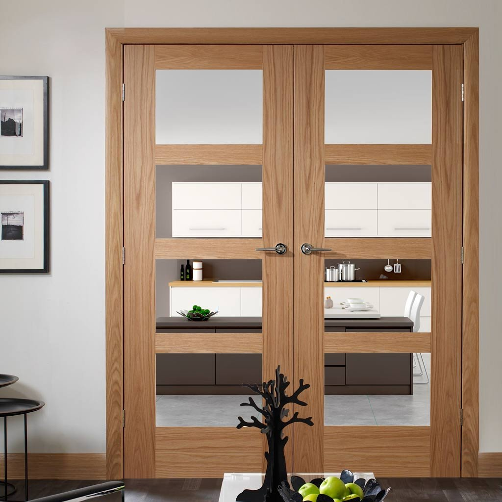 FD30 Fire Pair, Shaker Oak 4 Pane Door Pair - Clear Glass
