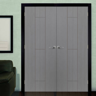 Image: J B Kind Ardosia Slate Grey Flush Door Pair - 1/2 Hour Fire Rated - Pre-finished
