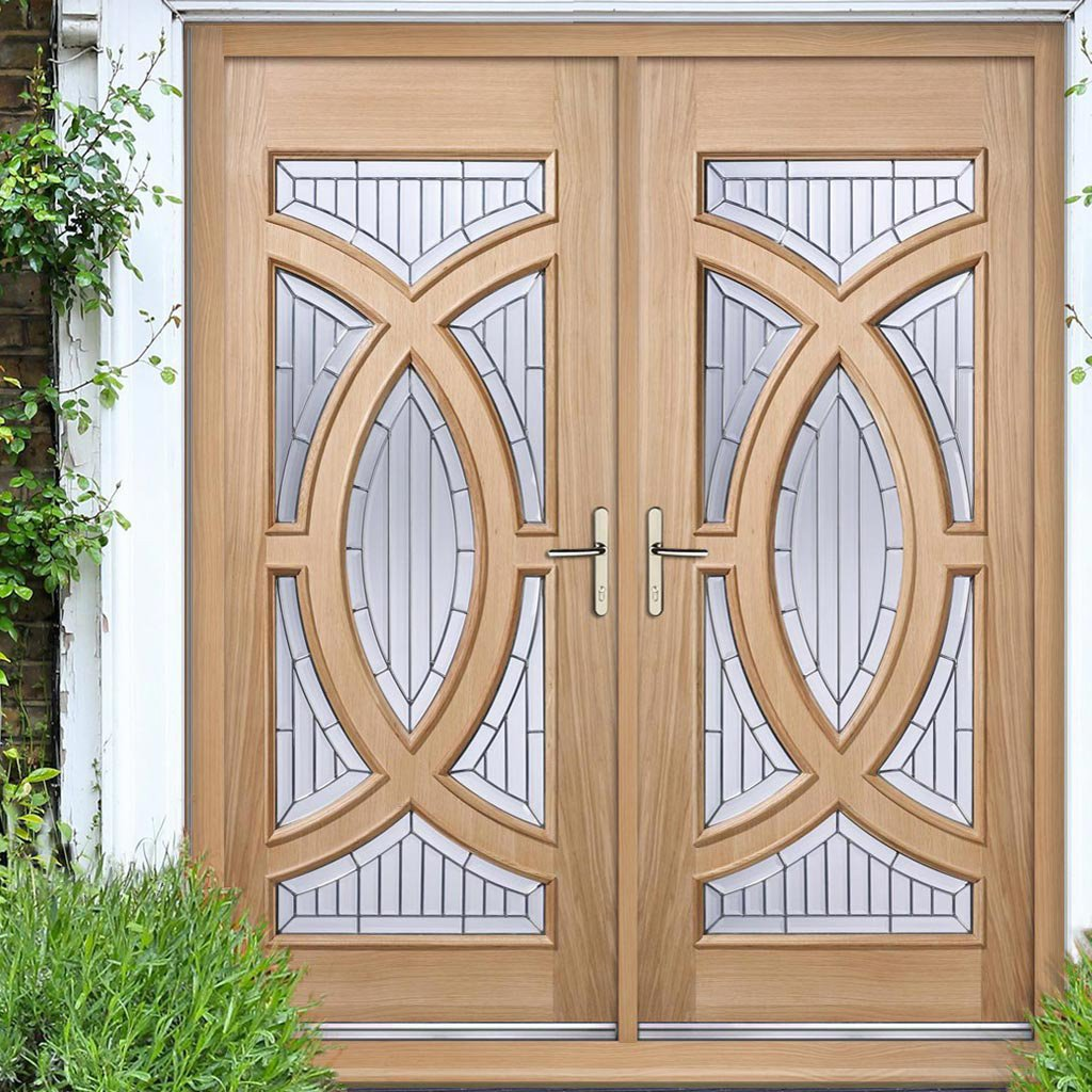 Majestic Oak Double Door and Frame Set - Zinc Clear Tri Glazing