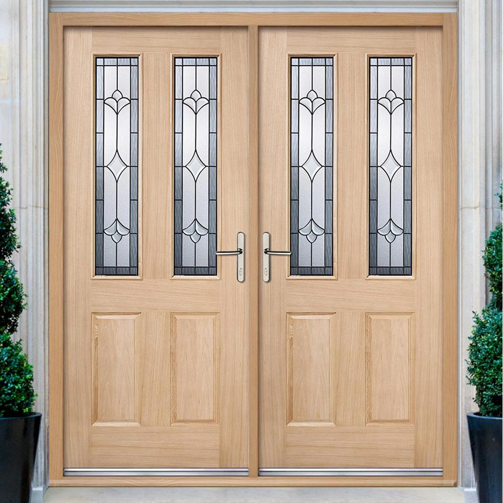 Salisbury External Oak Double Door and Frame Set - Semi Obscure Zinc Double Glazing