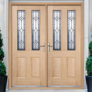 Image: Salisbury External Oak Double Door and Frame Set with Semi Obscure Zinc Double Glazing