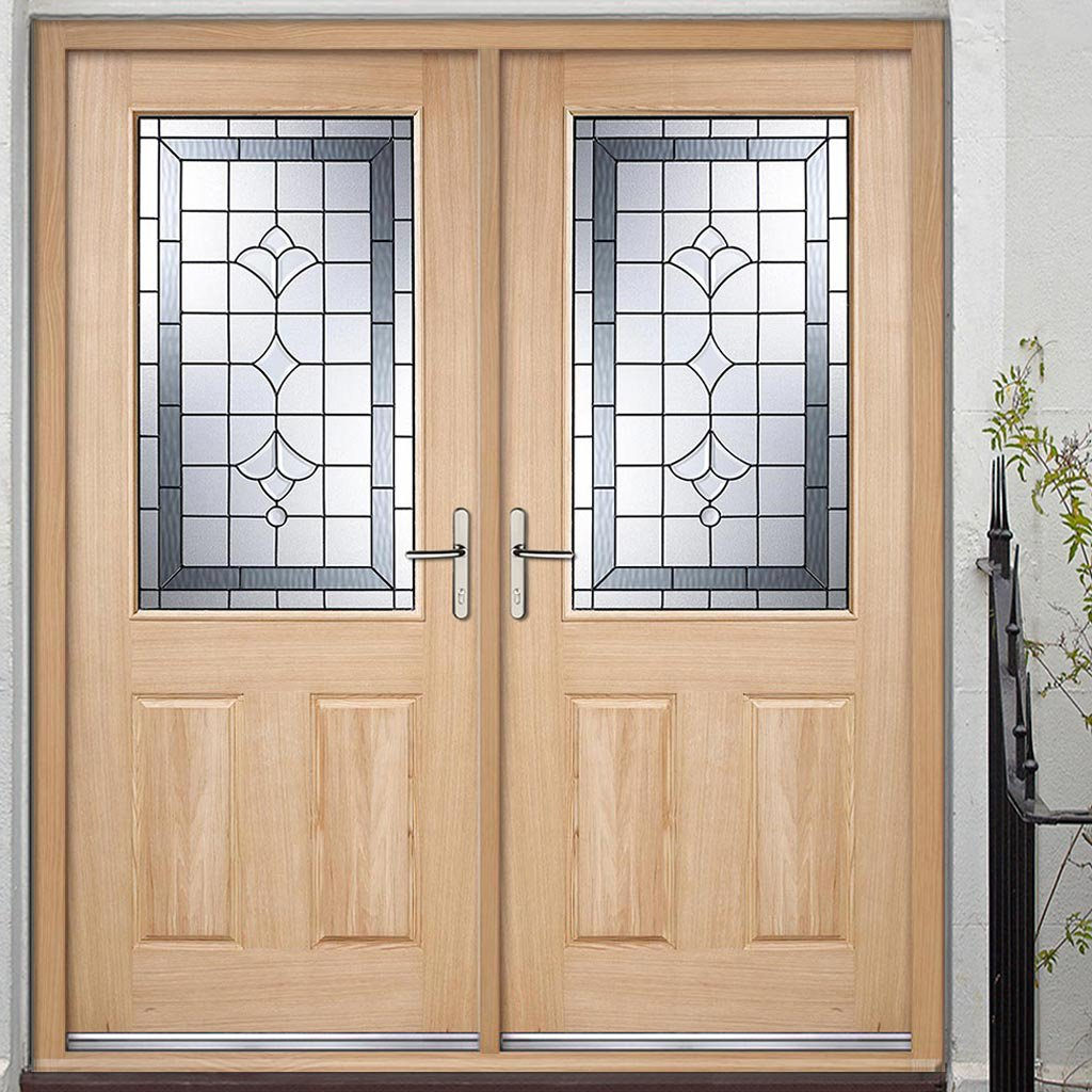 Winchester External Oak Double Door and Frame Set - Semi Obscure Zinc Double Glazing