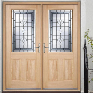 Image: Winchester External Oak Double Door and Frame Set with Semi Obscure Zinc Double Glazing