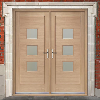 Image: Turin External Oak Double Door and Frame Set - Frosted Double Glazing