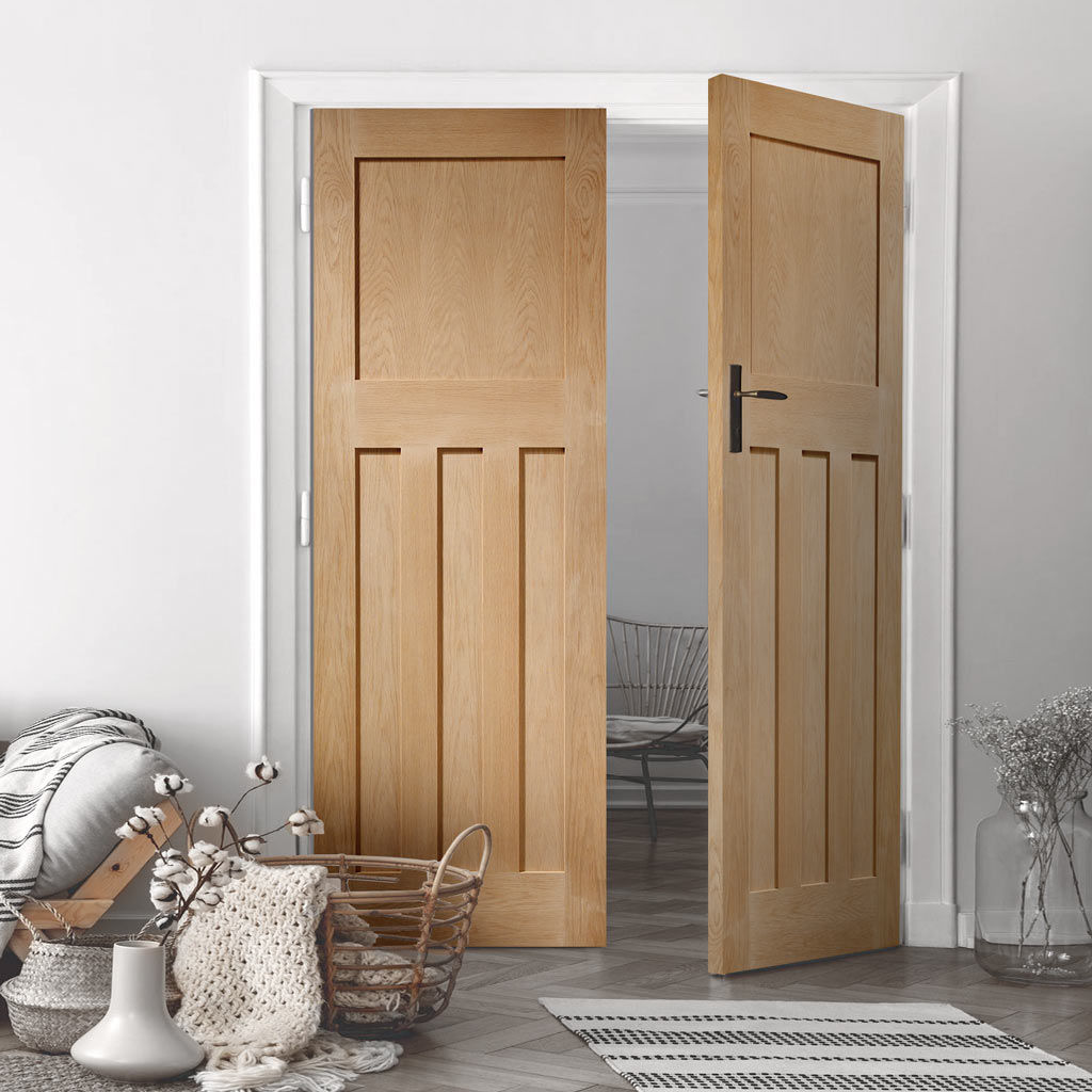 DX Oak Panel Door Pair - 1930's Style