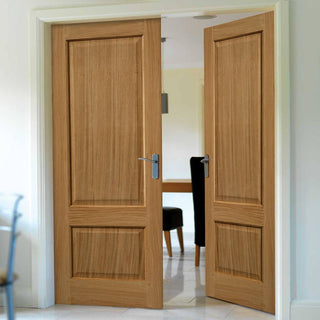 Image: J B Kind Trent Oak Fire Door Pair - 30 Minute Fire Rated