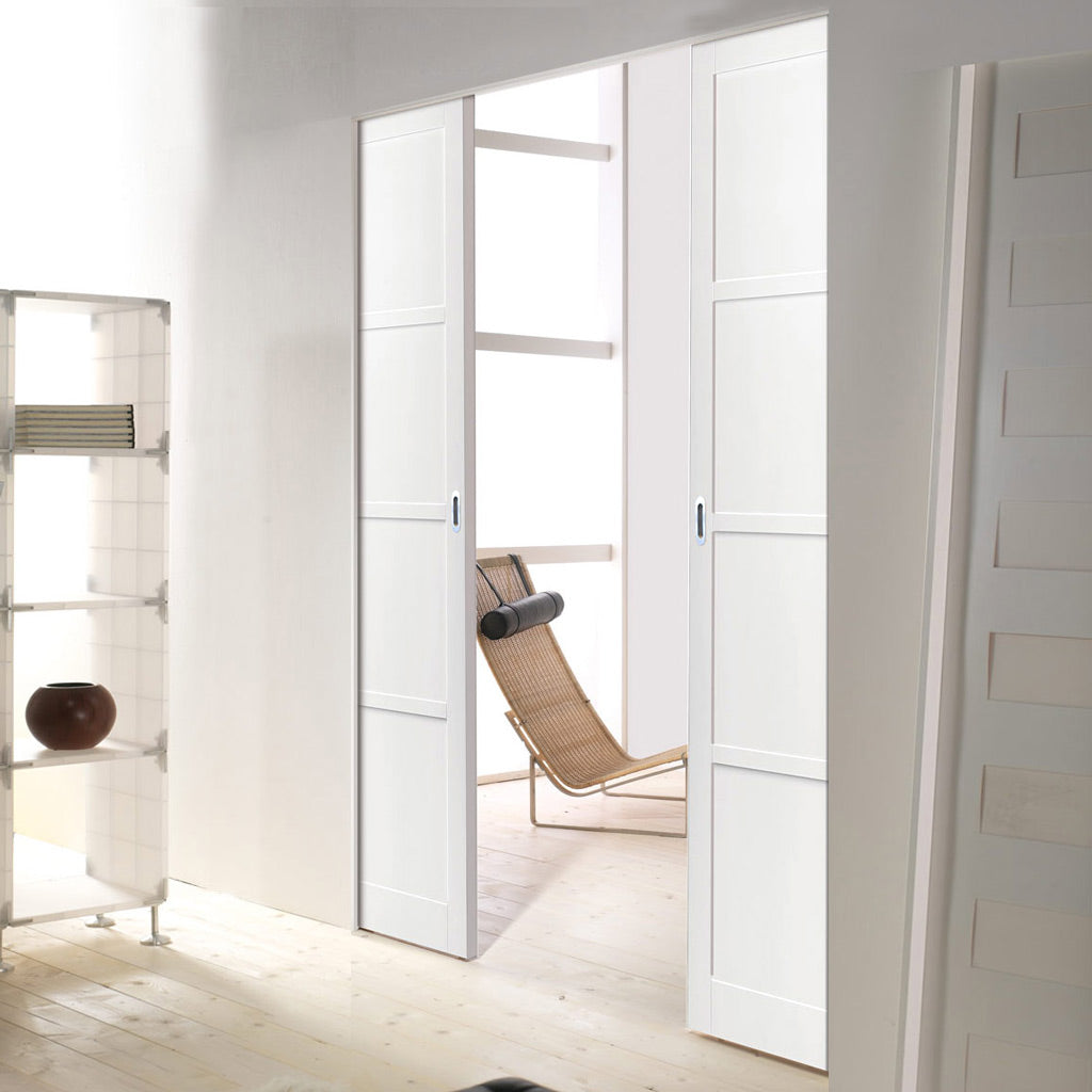 Bespoke Double Frameless Pocket Door WK6357 - 2 Prefinished Colour Choices