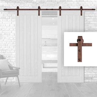 Image: Antique Rust Double Sliding Track - Barn Style - Straight Hanger