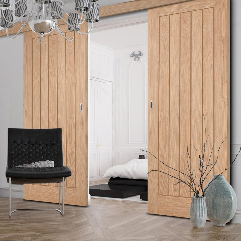 Double Sliding Door & Wall Track - Belize Oak Door - Prefinished