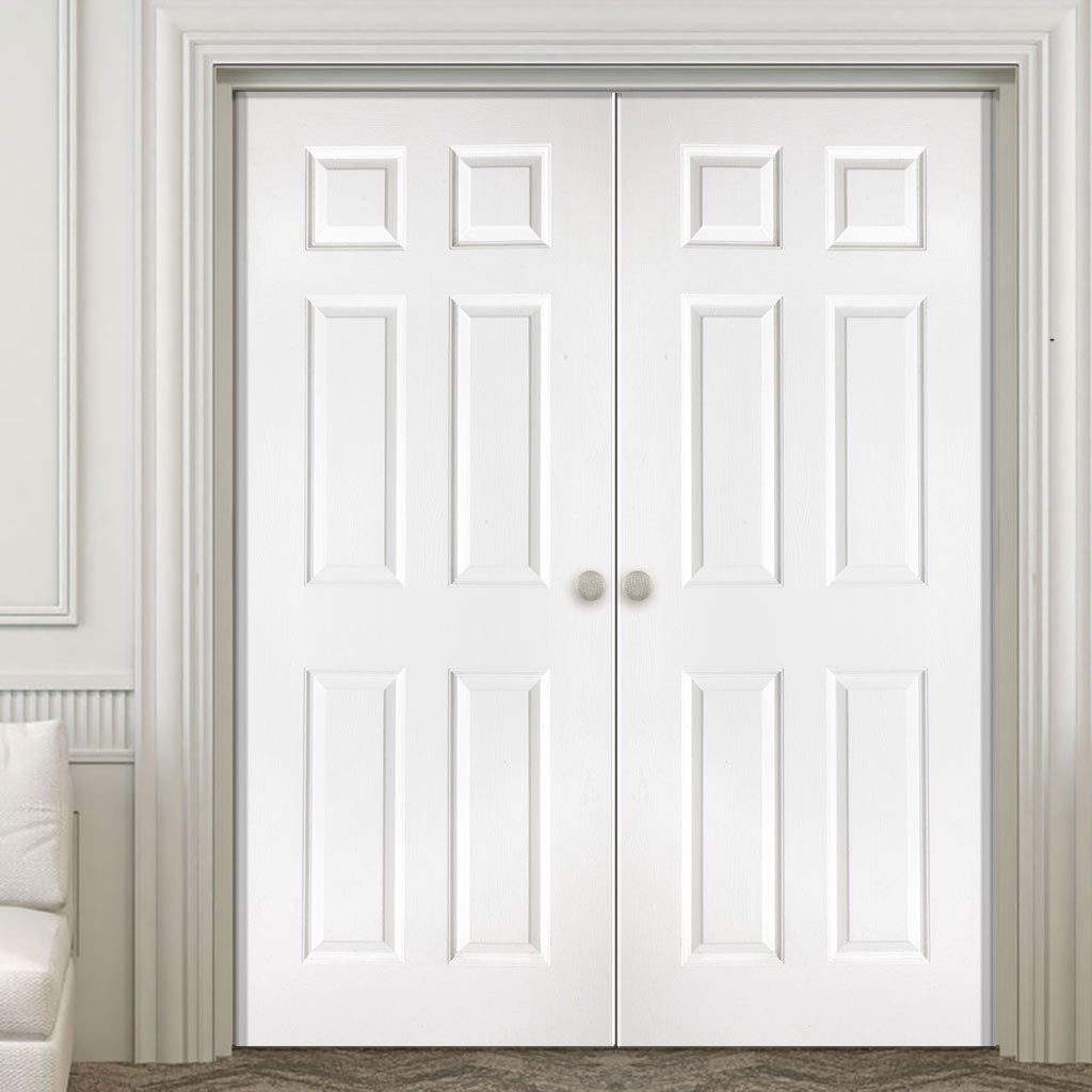 Washington Solid Grained 6 Panel PVC Door Pair