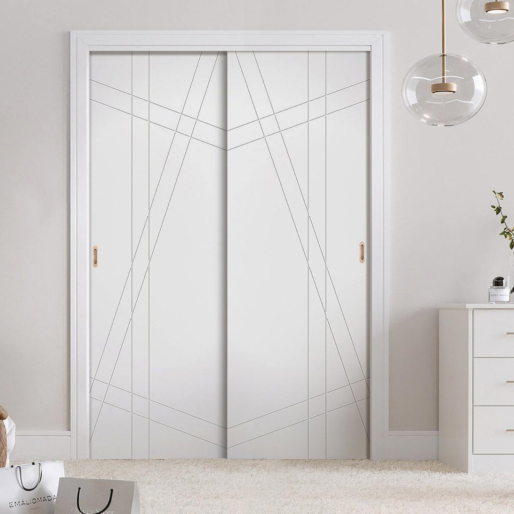 Two Sliding Wardrobe Doors & Frame Kit - Hastings Flush Door - White Primed