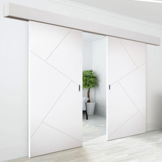 Image: Double Sliding Door & Wall Track - Dover Flush Door - White Primed