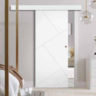 Image: Single Sliding Door & Wall Track - Dover Flush Door - White Primed