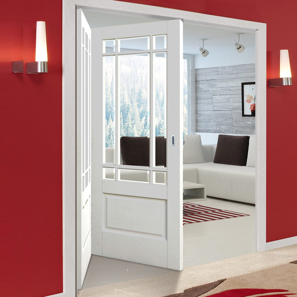 Two Folding Doors & Frame Kit - Downham 2+0 - Bevelled Clear Glass - White Primed