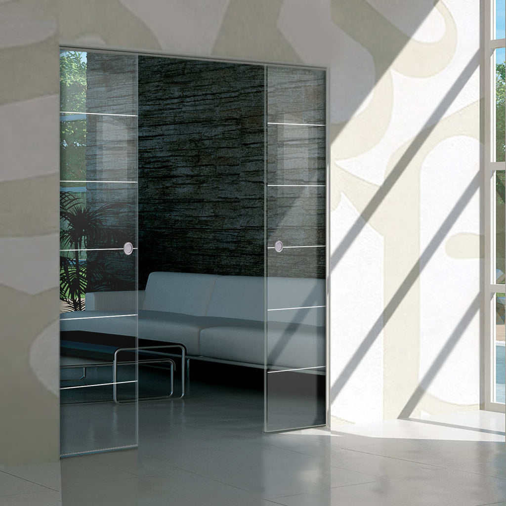 Drem 8mm Clear Glass - Obscure Printed Design - Double Absolute Pocket Door
