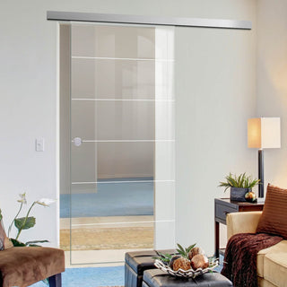 Image: Single Glass Sliding Door - Drem 8mm Clear Glass - Obscure Printed Design - Planeo 60 Pro Kit