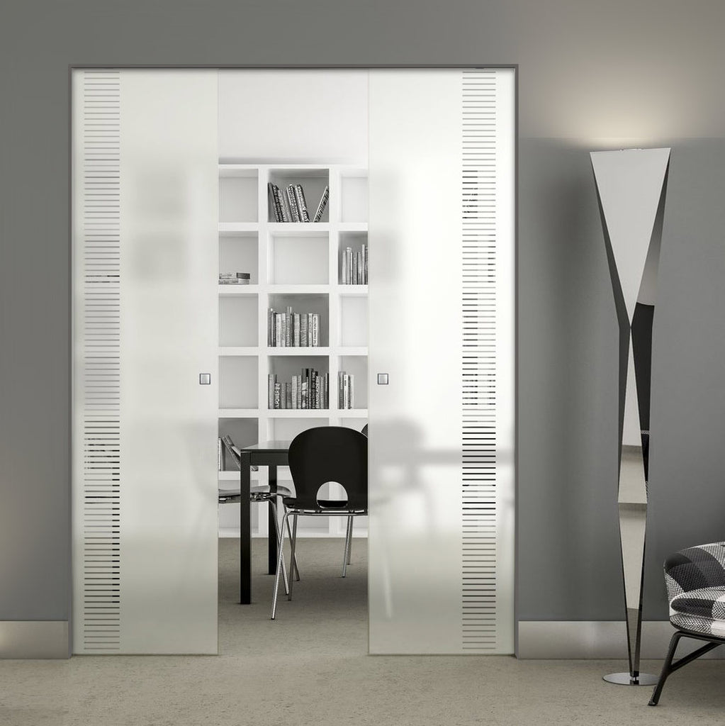 Duns 8mm Obscure Glass - Clear Printed Design - Double Absolute Pocket Door