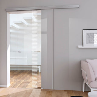 Image: Single Glass Sliding Door - Duns 8mm Clear Glass - Obscure Printed Design - Planeo 60 Pro Kit