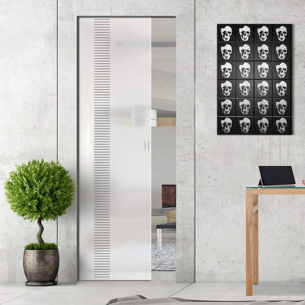 Duns 8mm Obscure Glass - Obscure Printed Design - Single Absolute Pocket Door