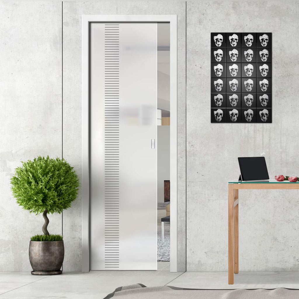 Duns 8mm Obscure Glass - Obscure Printed Design - Single Evokit Glass Pocket Door