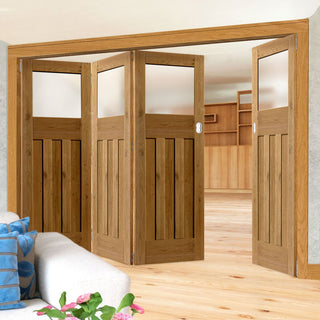 Image: Four Folding Doors & Frame Kit - Rustic Oak 1930 DX Shaker 3+1 - Obscure Glass - Prefinished