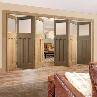Image: Six Folding Doors & Frame Kit - 1930's Oak Solid 3+3 - Frosted Glass - Unfinished