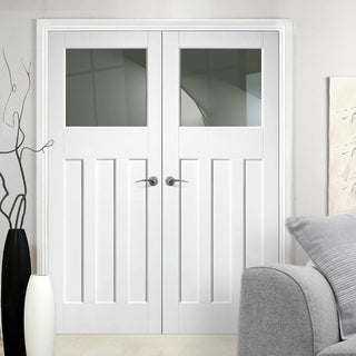 Image: Simpli Double Door Set - DX 1930's Door - Obscure Glass - White Primed