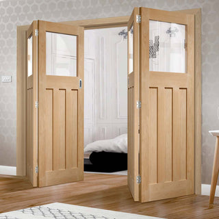 Image: Bespoke Thrufold DX Oak 1930's Style Glazed Folding 2+2 Door