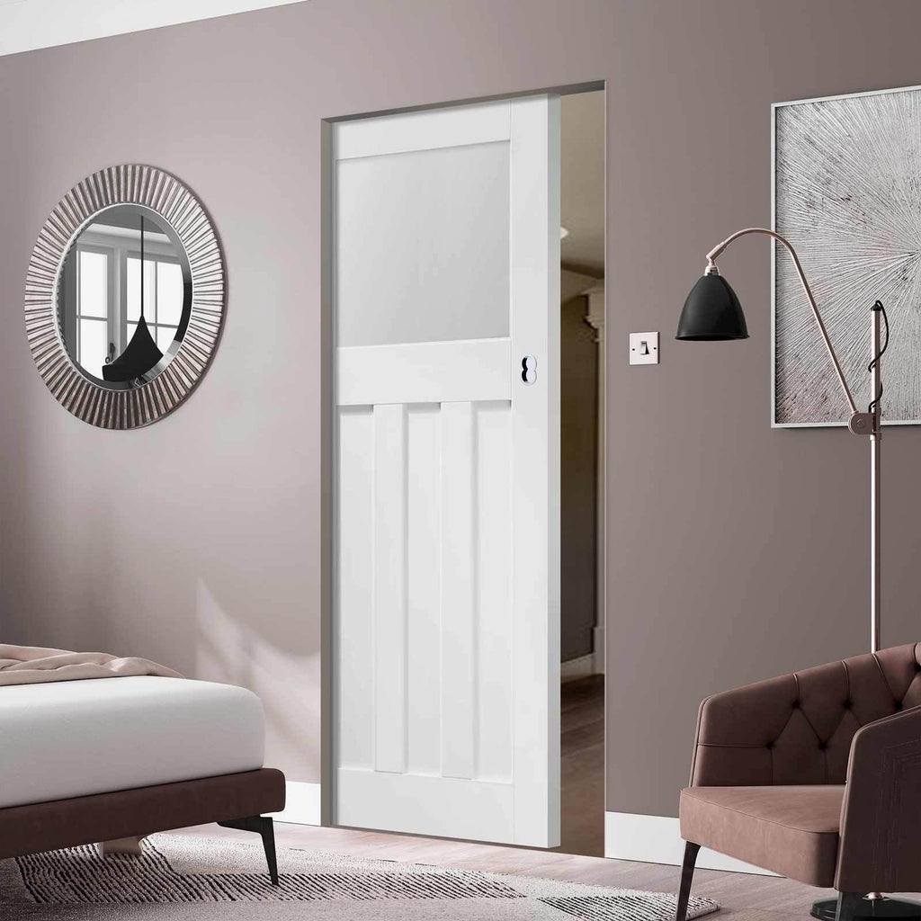 Bespoke DX 1930's White Primed Glazed Single Frameless Pocket Door