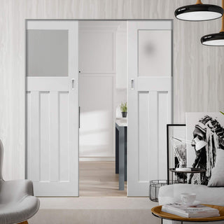 Image: DX 1930's Absolute Evokit Double Pocket Door - Frosted Glass