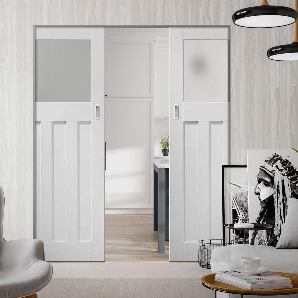 Bespoke DX 1930's White Primed Glazed Double Frameless Pocket Door