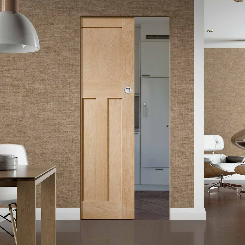 DX Oak Panel Absolute Evokit Pocket Door in a 1930's Style