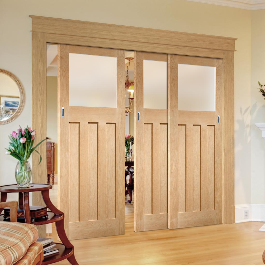 Three Sliding Doors and Frame Kit - DX 1930's Oak Door - Obscure Glass - Prefinished
