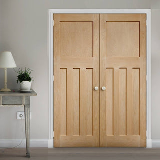 Image: Bespoke DX Oak Panel Fire Door Pair - 1/2 Hour Fire Rated