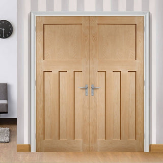 Image: Bespoke DX 1930'S Oak Panel Door Pair - Prefinished