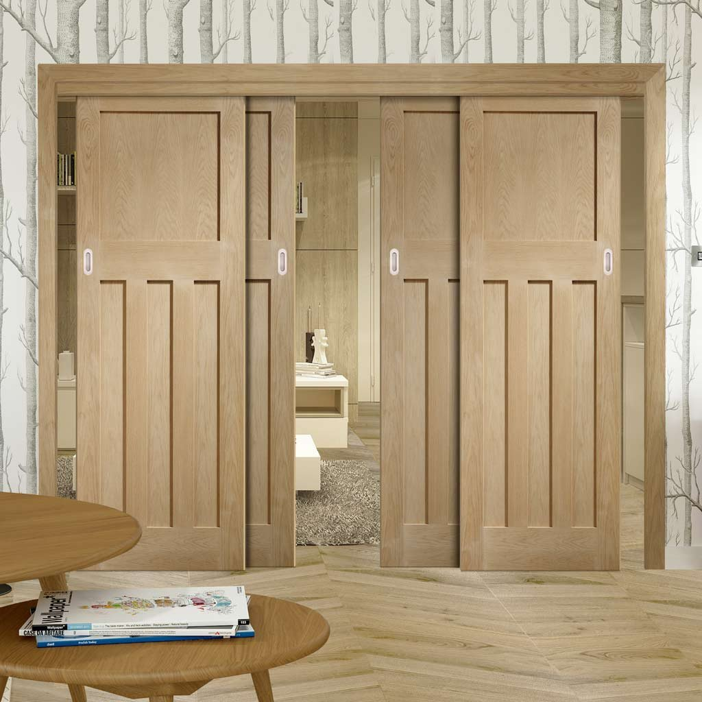 Four Sliding Doors and Frame Kit - DX Oak Panel Door - 1930's Style