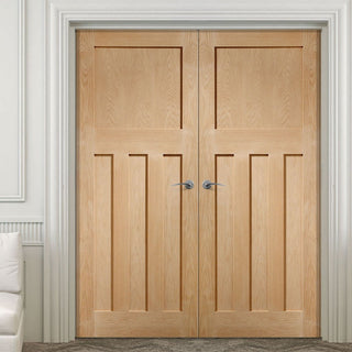 Image: Simpli Double Door Set - DX 1930'S Oak Panelled Door - Prefinished