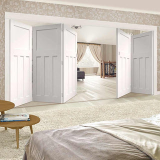 Image: Bespoke Thrufold DX 1930's White Primed Panel Folding 3+2 Door