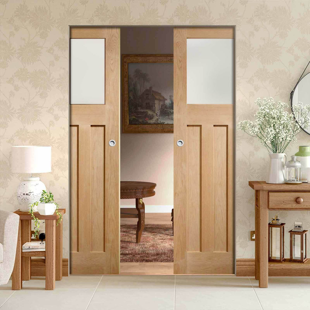 Bespoke DX 1930's Oak Glazed Double Frameless Pocket Door - Prefinished