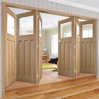 Image: Bespoke Thrufold DX Oak 1930's Style Glazed Folding 3+3 Door