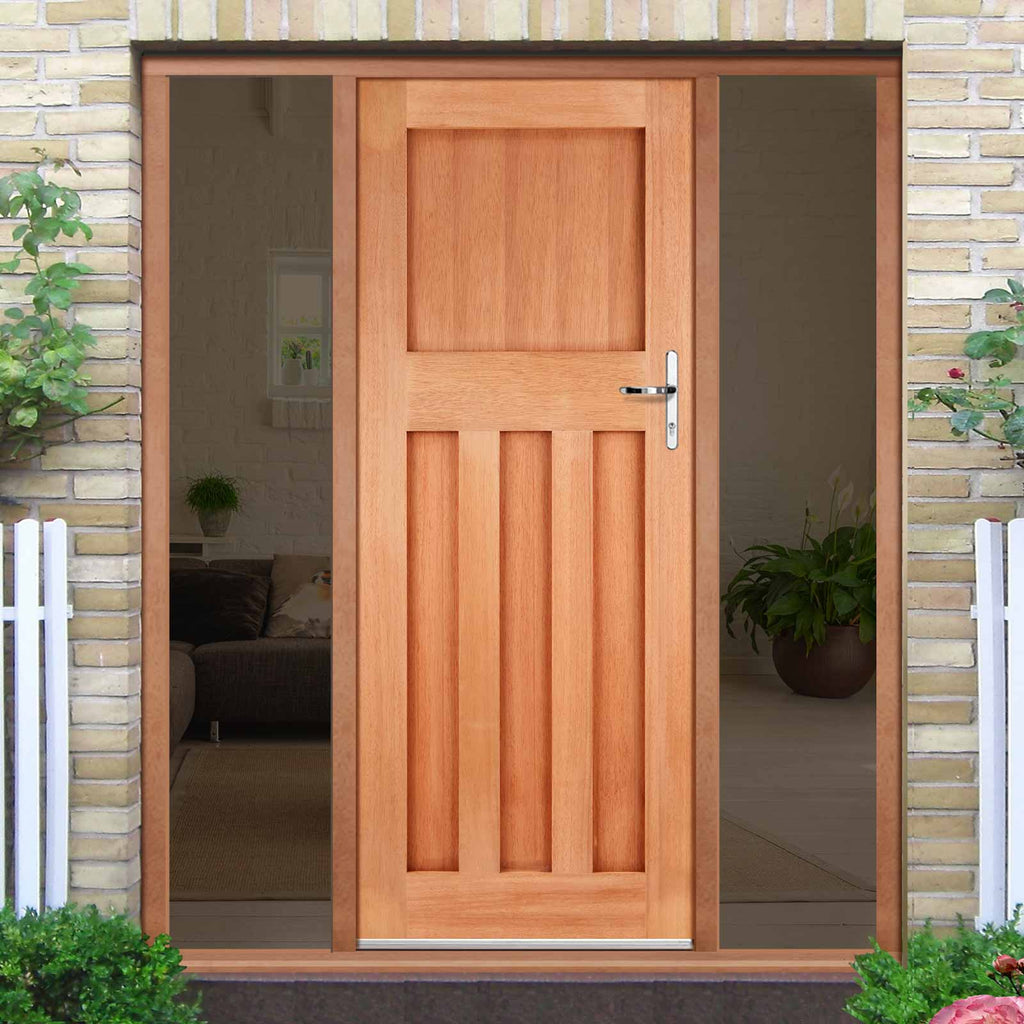 DX30's Style External Hardwood Door and Frame Set - Two Unglazed Side Screens, From LPD Joinery